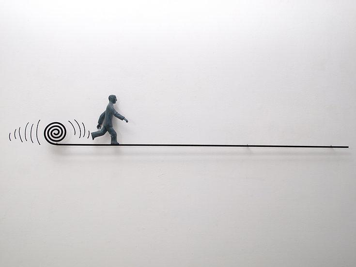 Rushing to Eternity (man running on line)