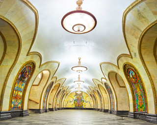 Novoslobodskaya Metro Station, Moscow, Russia 2015