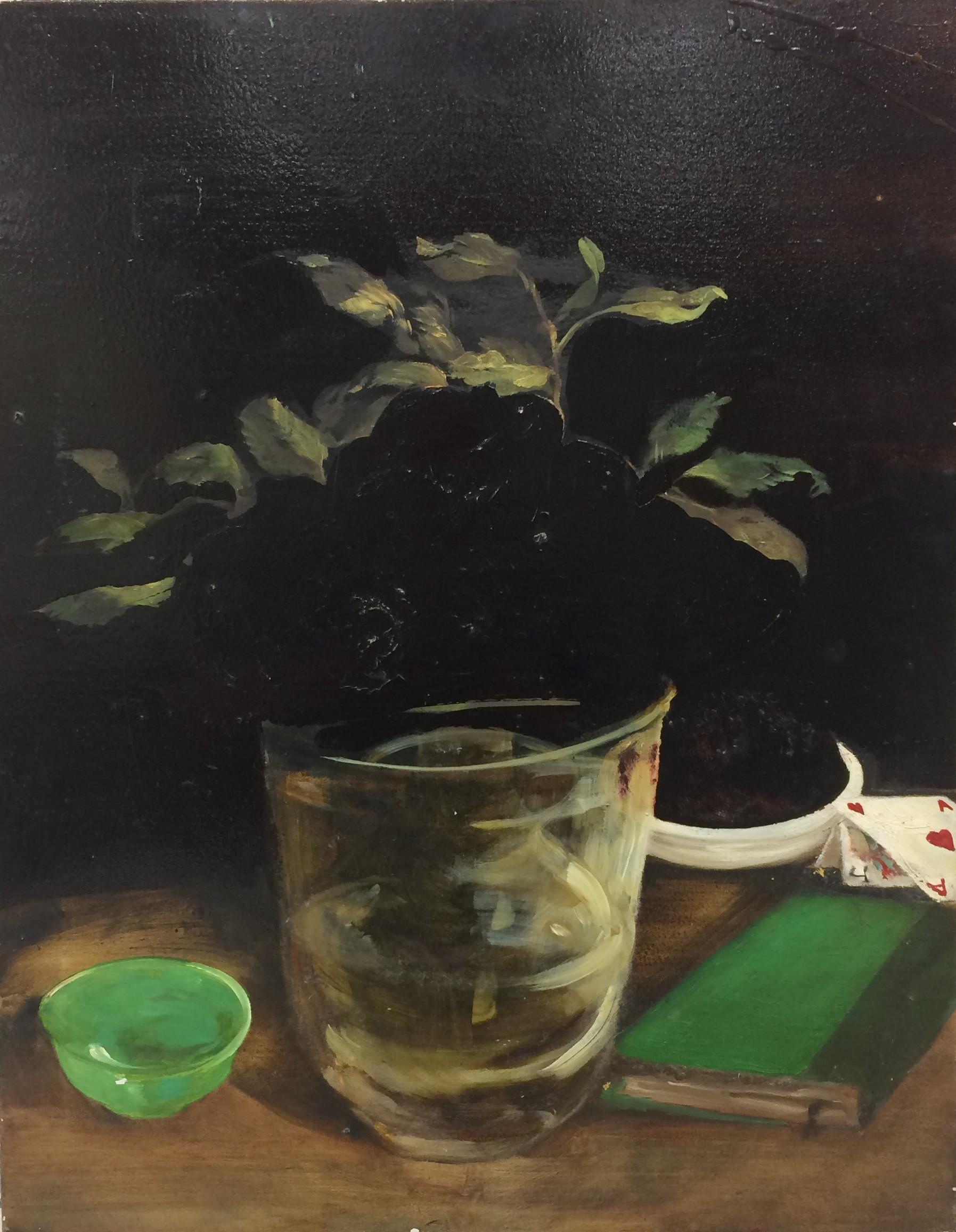 Vase with Jade Bowl_28x22__oil, asphaltu