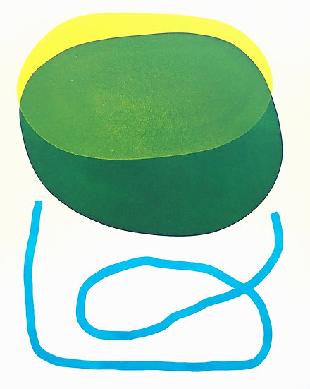Yellow and Green with Blue Line