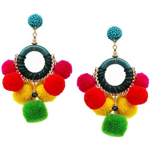 Fuzzy Rainbow Pom Pom Large Hoop Earrings