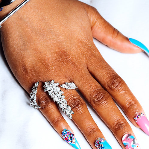 Two Finger Pave Ring
