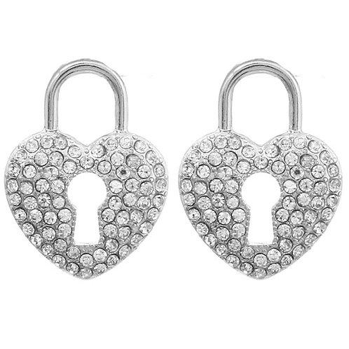 Pave Heart Locket Earrings