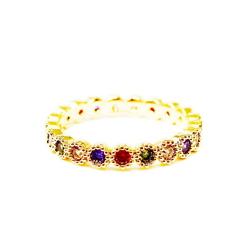 Rainbow Pave Candy Ring