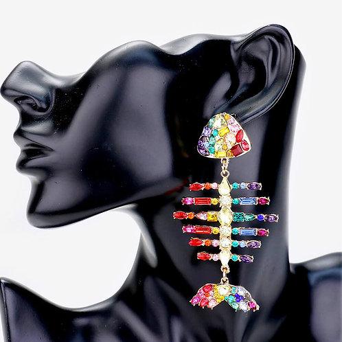 Phat Rainbow Rhinestone Bonefish Earrings