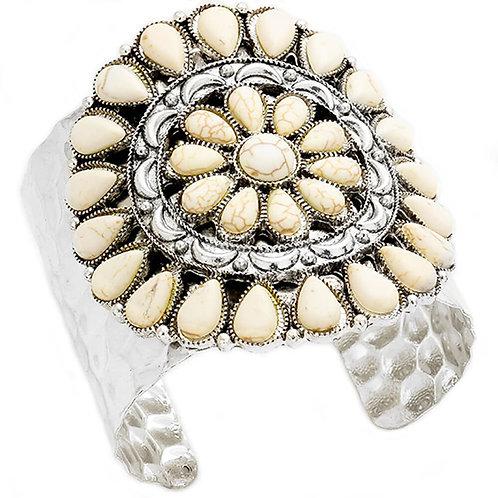 Tribal Blossom White Stones Silver Metal Cuff Bracelet