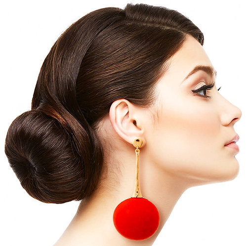 Retro Big Ball Earrings Red