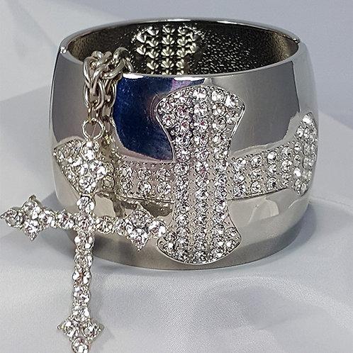 Cross Silver Chain & Bangle