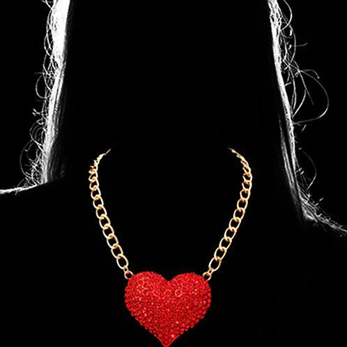 Chaud Cristaux Heart Pave Necklace