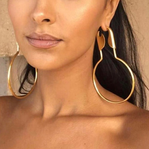 Large Safety Pin Hoops Earrings