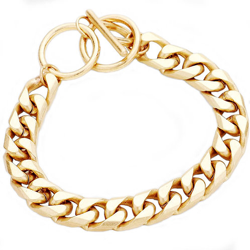 Bold Metal Chain Toggle Bracelet