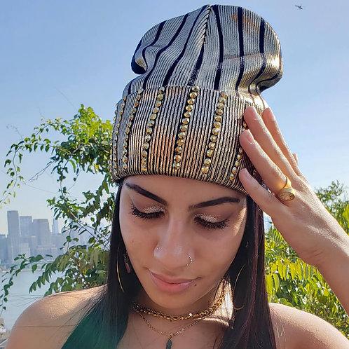 Rhinestone Foil Knit Beanie Hat