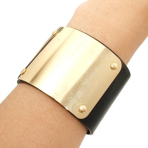 Cuir Faux Leather Gold Shield Cuff