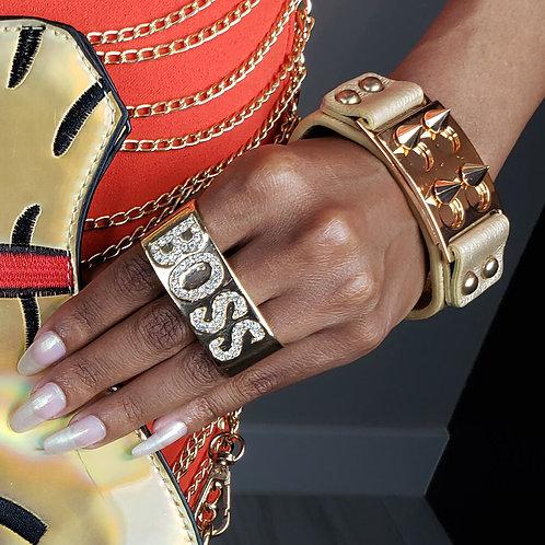 Gold Boss Two Finger Ring