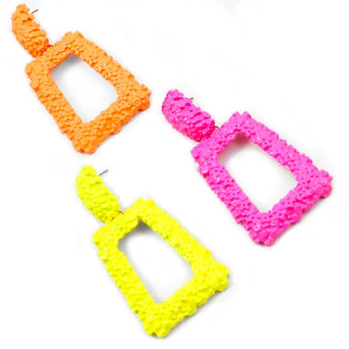 Cat Walk Of Fame Jewelry Neon Pink, Yellow and Orange Nugget Geometric Earrings