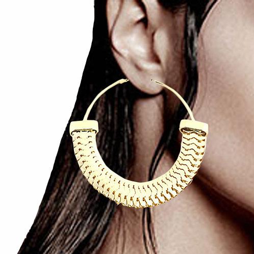 Tisser Gold Chain Hoop Earrings