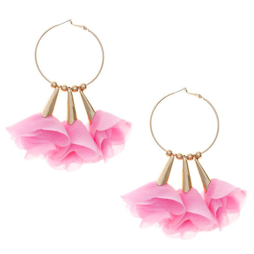 Triple Petals Hoops Earrings