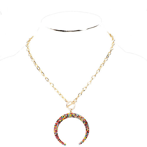 French Rainbow Horn Necklace
