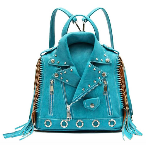Cat Walk Of Fame Accessories Turquoise Leather Moto Jacket Backpack