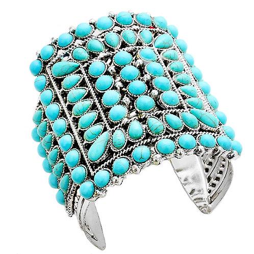 Tribal Turquoise Silver Metal Cuff Bracelet