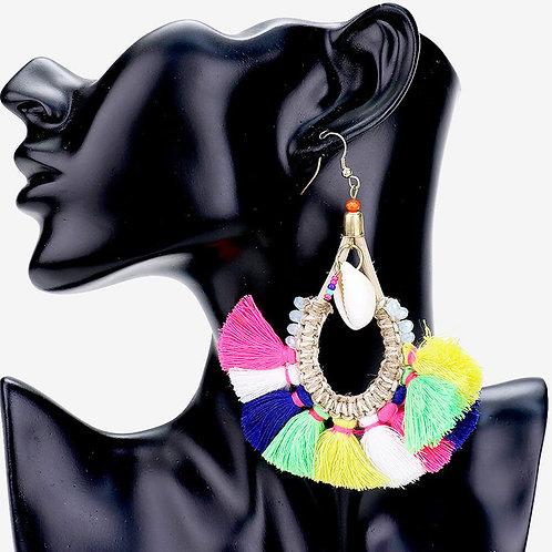 Rainbow Tassel Large Hoop Earrings