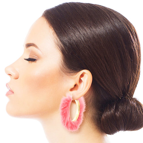 Pink Fuzzy Hoops