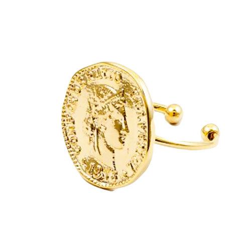 Fem Gold Coin Ring