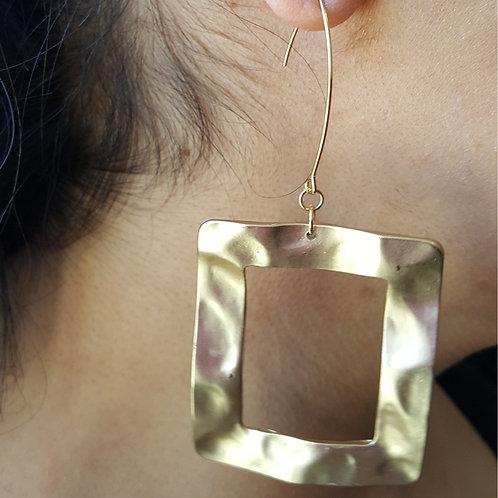 Platz Matte Gold Square Hoop Earrings