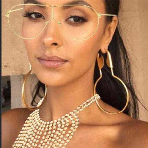 Wide Gold Rim Clear Sunglasses