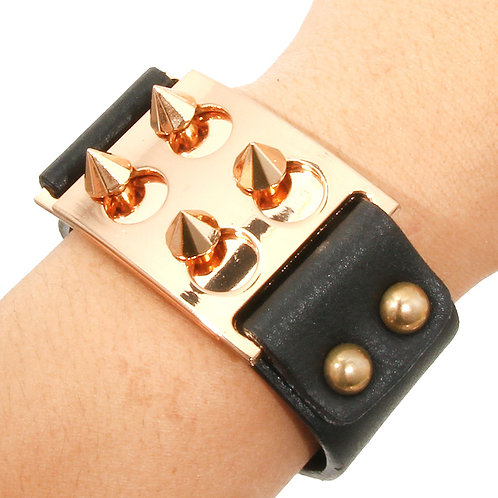 Spike Metal and Leather Cuff