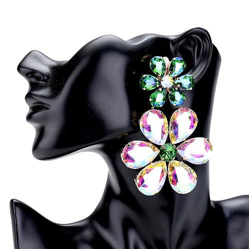 Large Vivid Crystal Flowers Clip On Earrings Turquoise