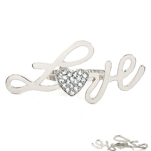 Love Heart Two Finger Ring