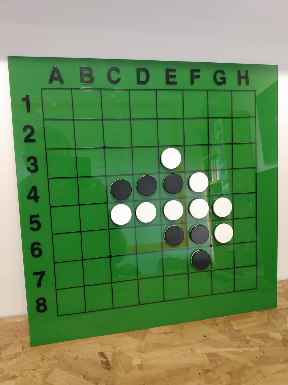 Finished magneic Othello board showing 'Dead draw' position'