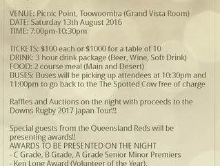 2016 DOWNS RUGBY AWARDS NIGHT