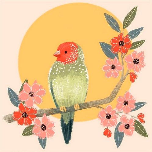 Whimsical Bird and Flowers in Acryla-Gouache