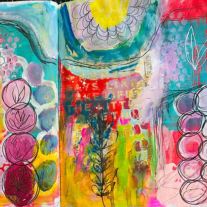 Mixed Media Art (Virtual)   Colors Marks and Magaziine Spreads