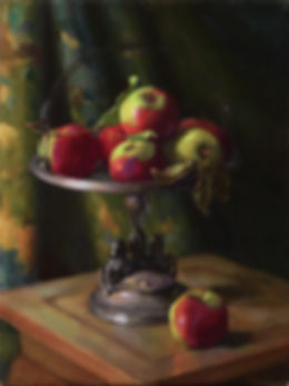 oil painting apples bride's basket