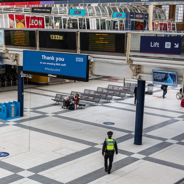 Liverpool Street Station, deserted during the COVID-19 pandemic