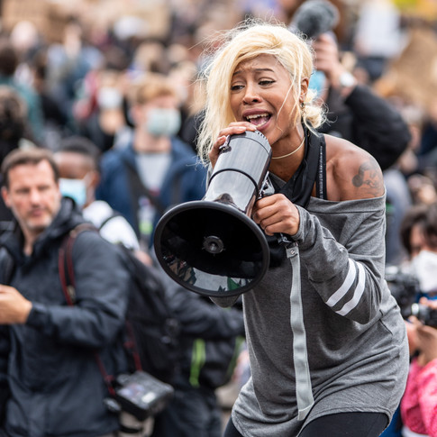 Activist Imarn Ayton during the June 2020 Black Lives Matter protests