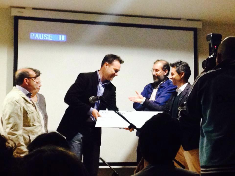 "Receiving the Prize ""Javier Santos"""