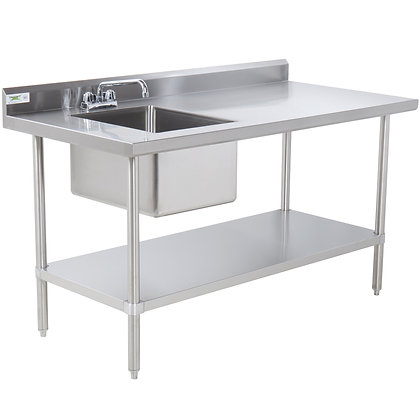 """30""""x72"""" Stainless Steel Work Table with Sink"""