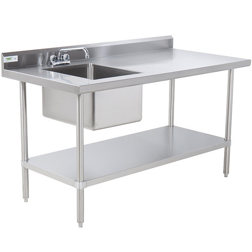 "30""x72"" Stainless Steel Work Table with Sink"