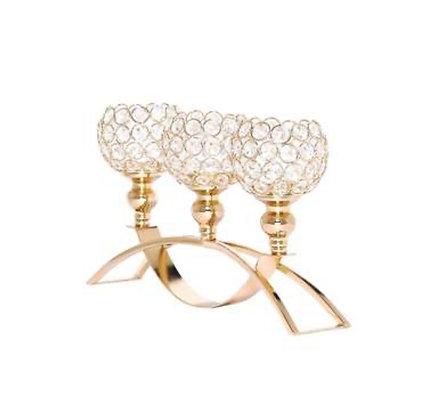 Gold Crystal Candle Holder