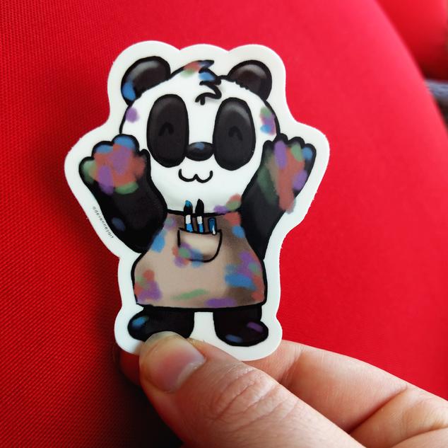 Painter Artist Panda Sticker