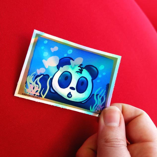 Panda Fish Tank Holographic Sticker