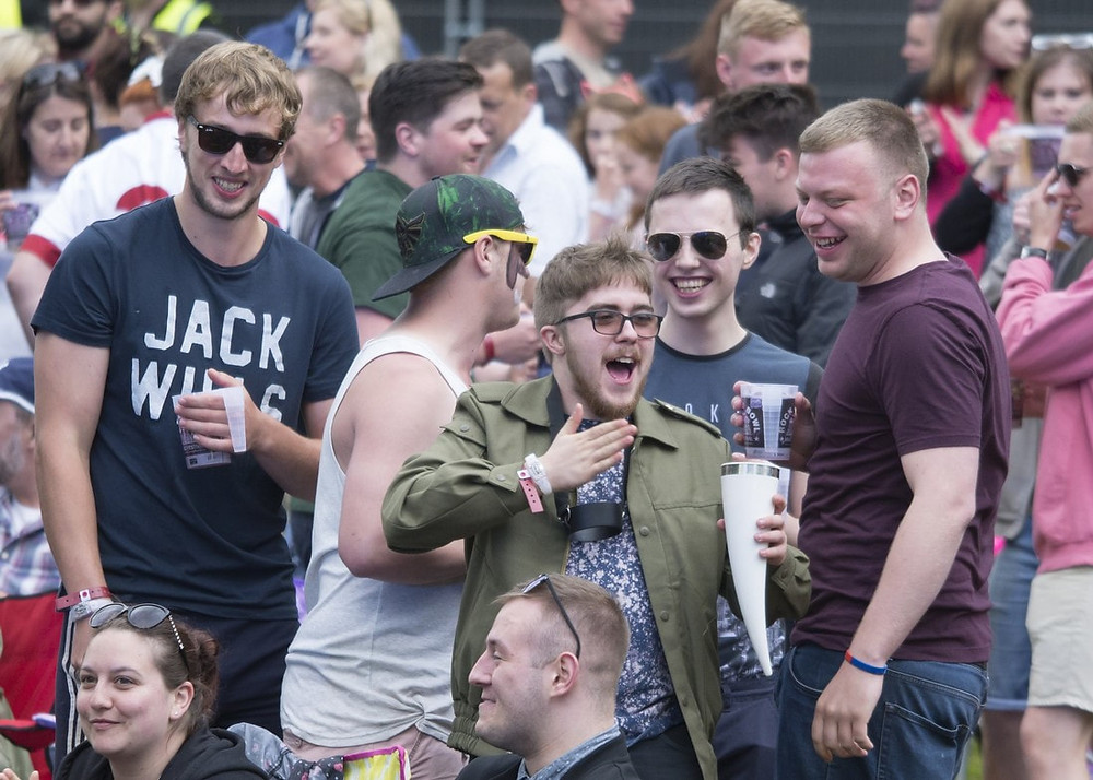 festival goers at rock and bowl festival in Shropshire
