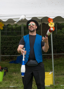 Juggling at Rock and Bowl festival in Sh