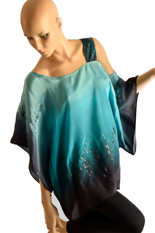 """Hand-painted Silk Blouse """"Turquoise melody"""""""