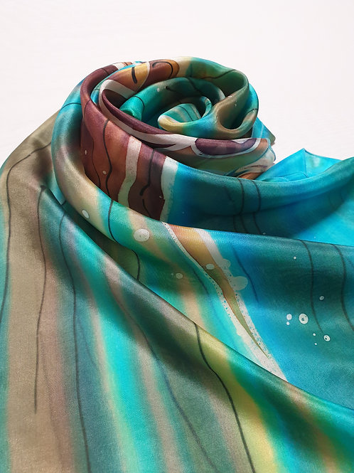 Hand-painted 100% Silk Scarf SC0117