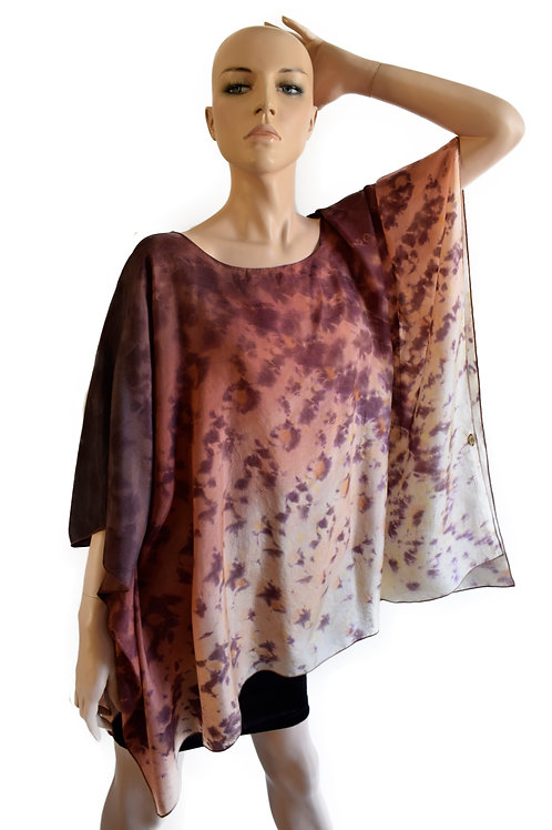 "Hand Painted Silk Kaftan ""Vibrations of Brown"""